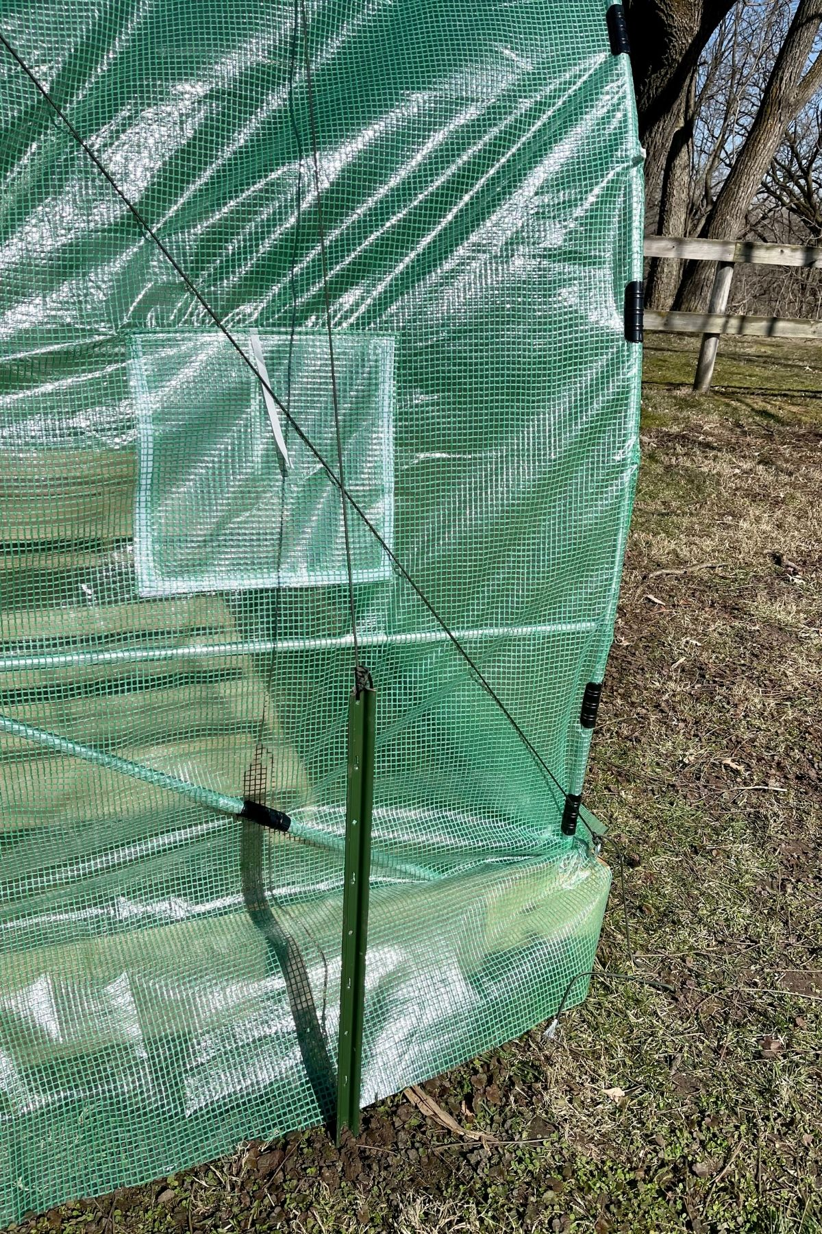Paracord over side of greenhouse