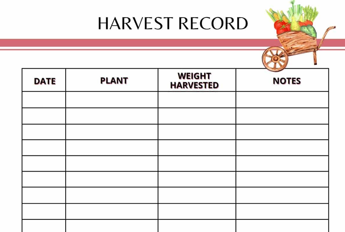 Garden Planner Harvest Record