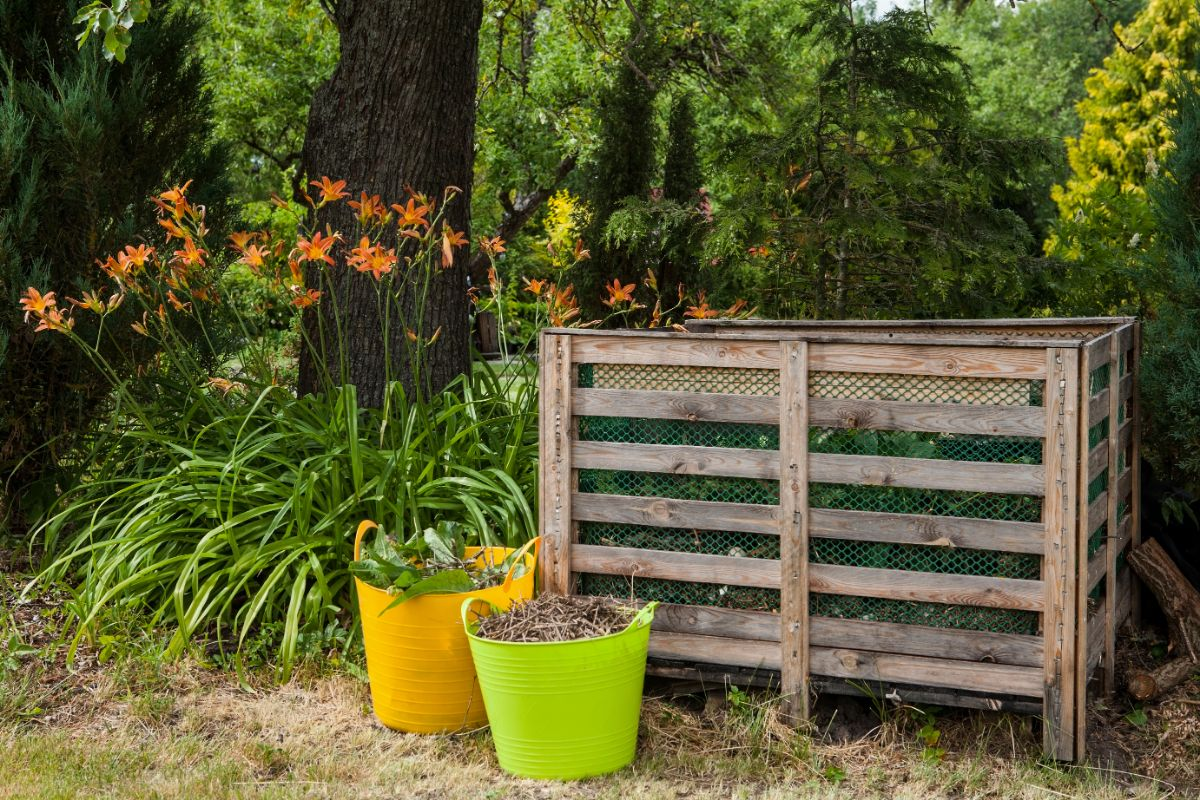 DIY compost bin placed correctly in the garden.