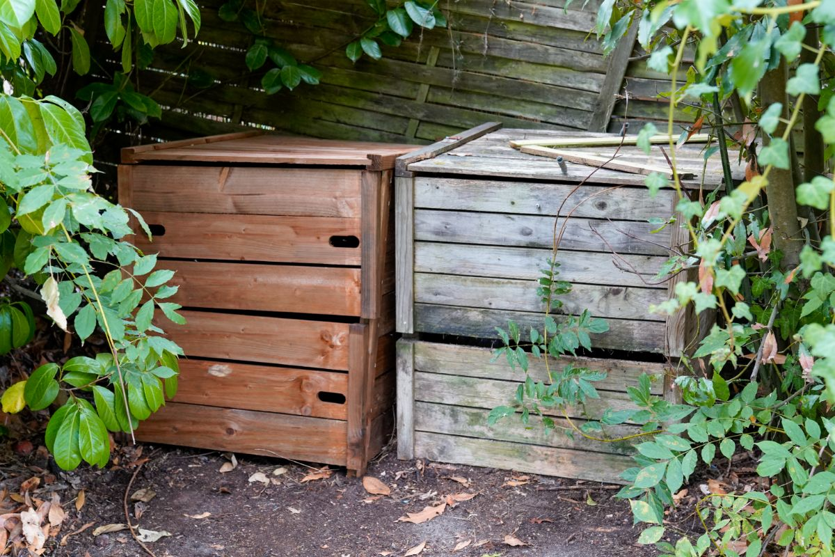 Two compost bins placed next to each other