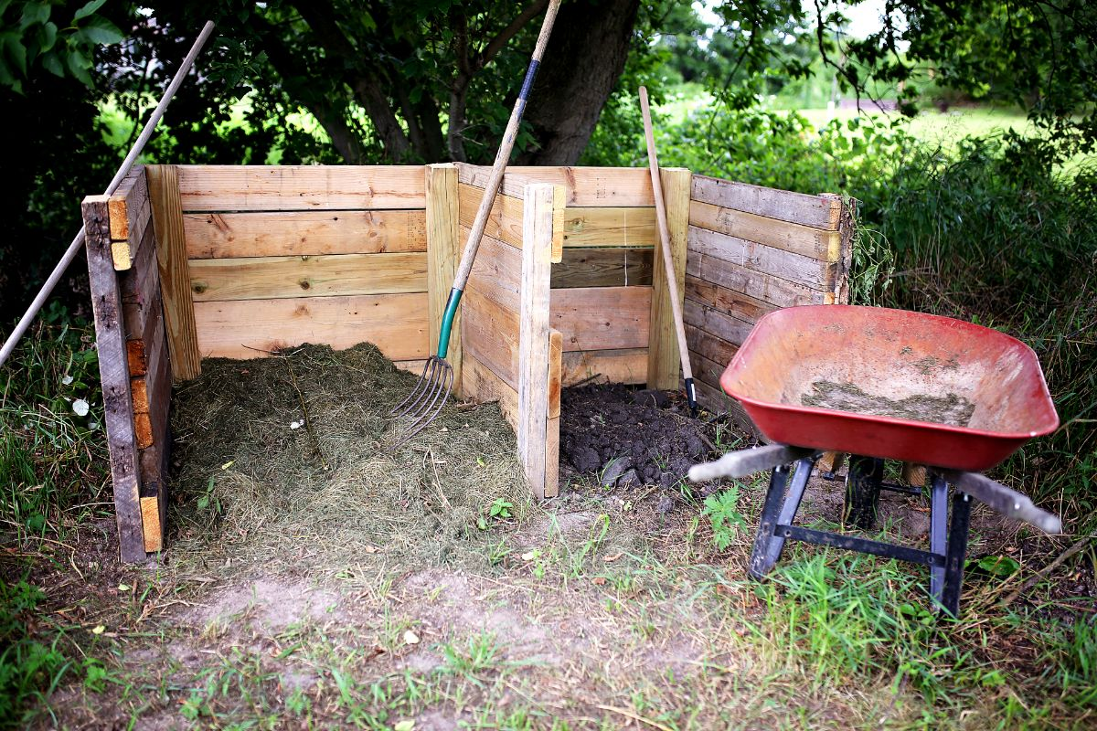 Turning the compost pile.