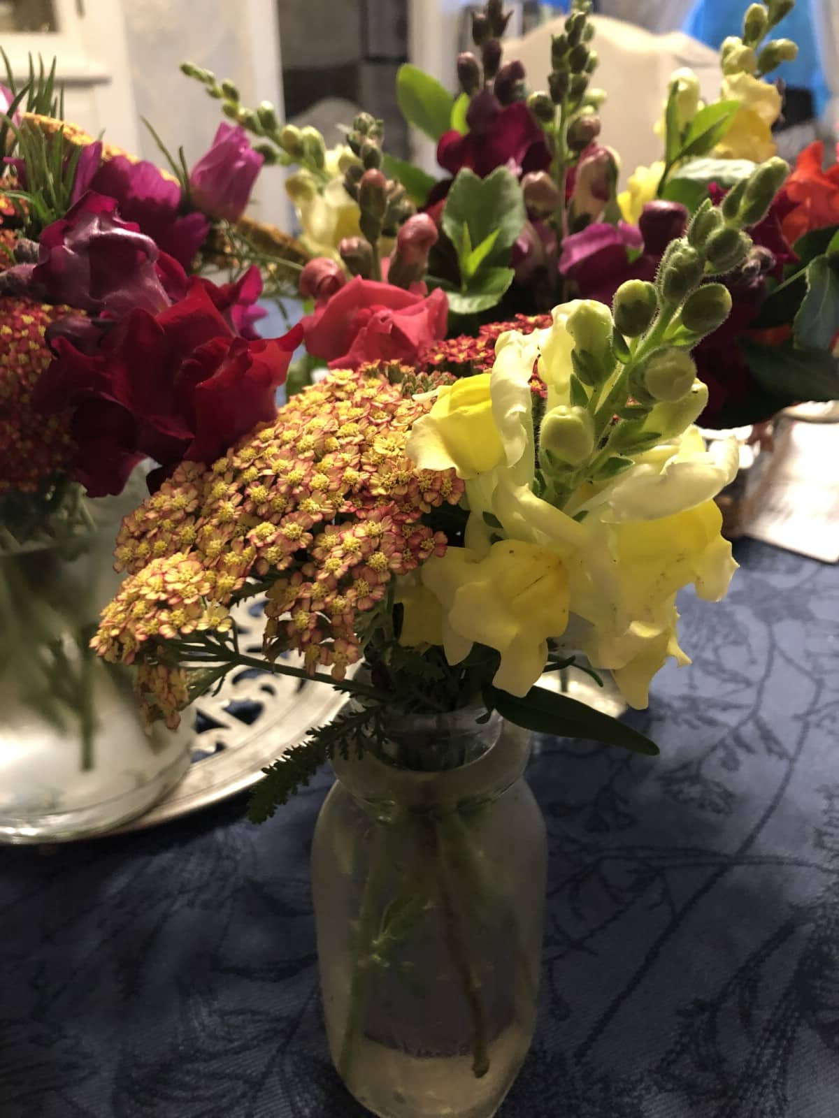 yarrow and snapdragons in vase