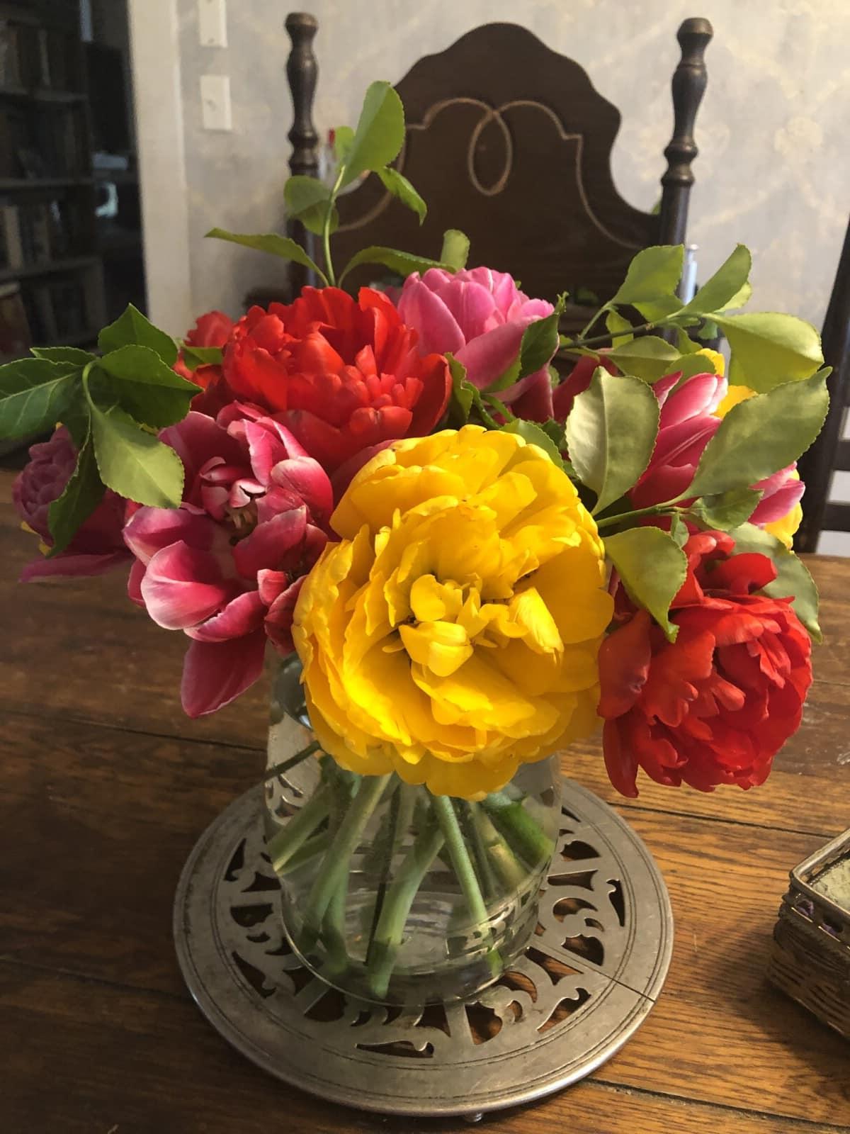 peony tulips in arrangement