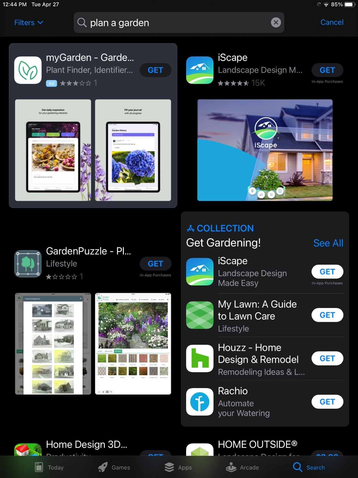 Apps available for garden planning