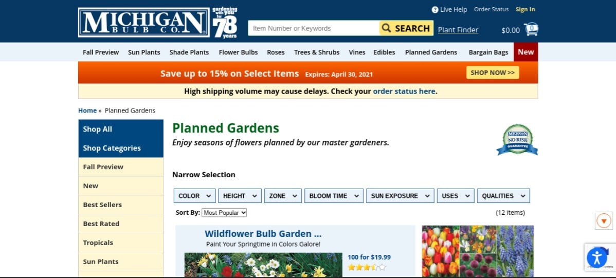 Screenshot of Michigan Bulb Company's pre-planned garden products