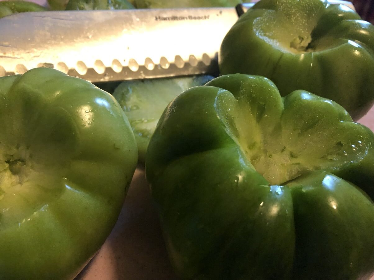 cored green tomatoes