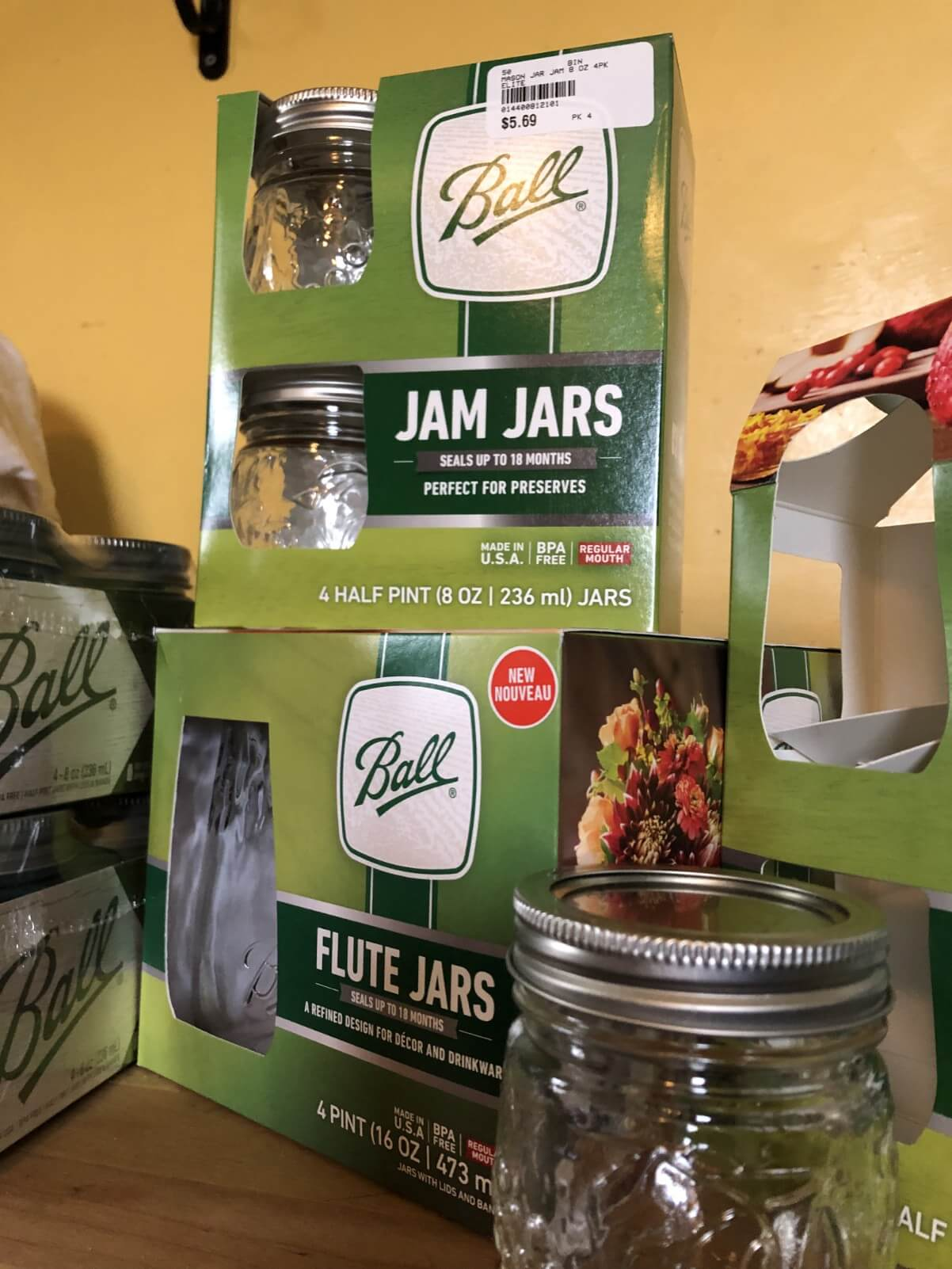 canning jars in box, new