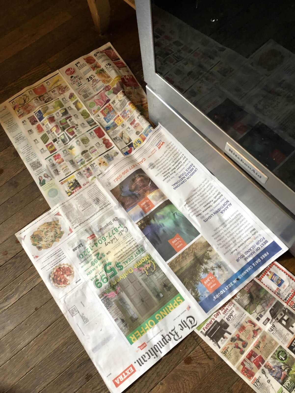 newspaper on floor for canning