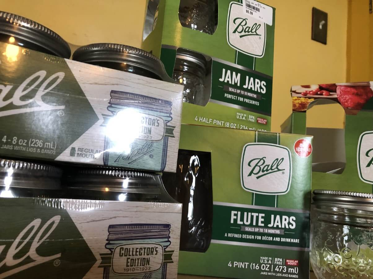 various styles of canning jars in box