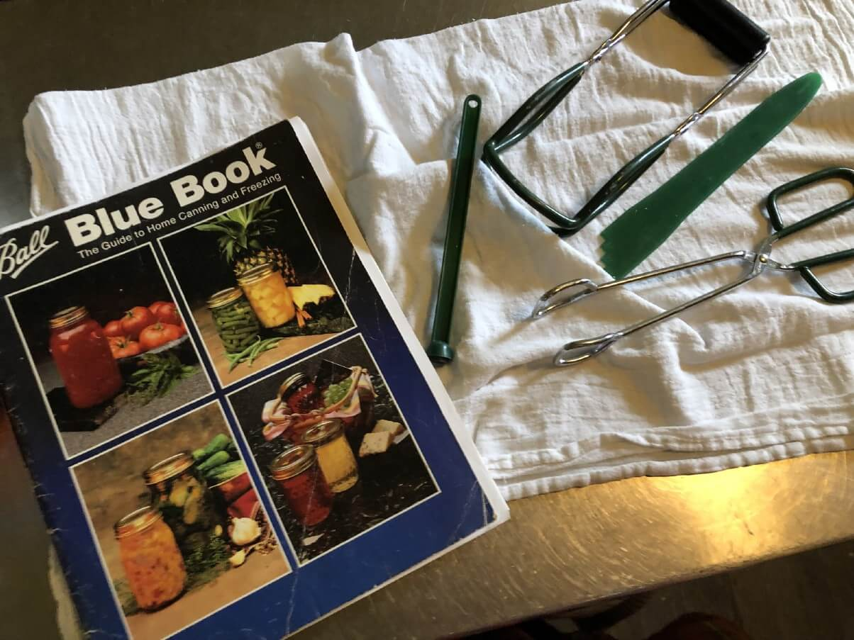 canning supplies and ball blue book