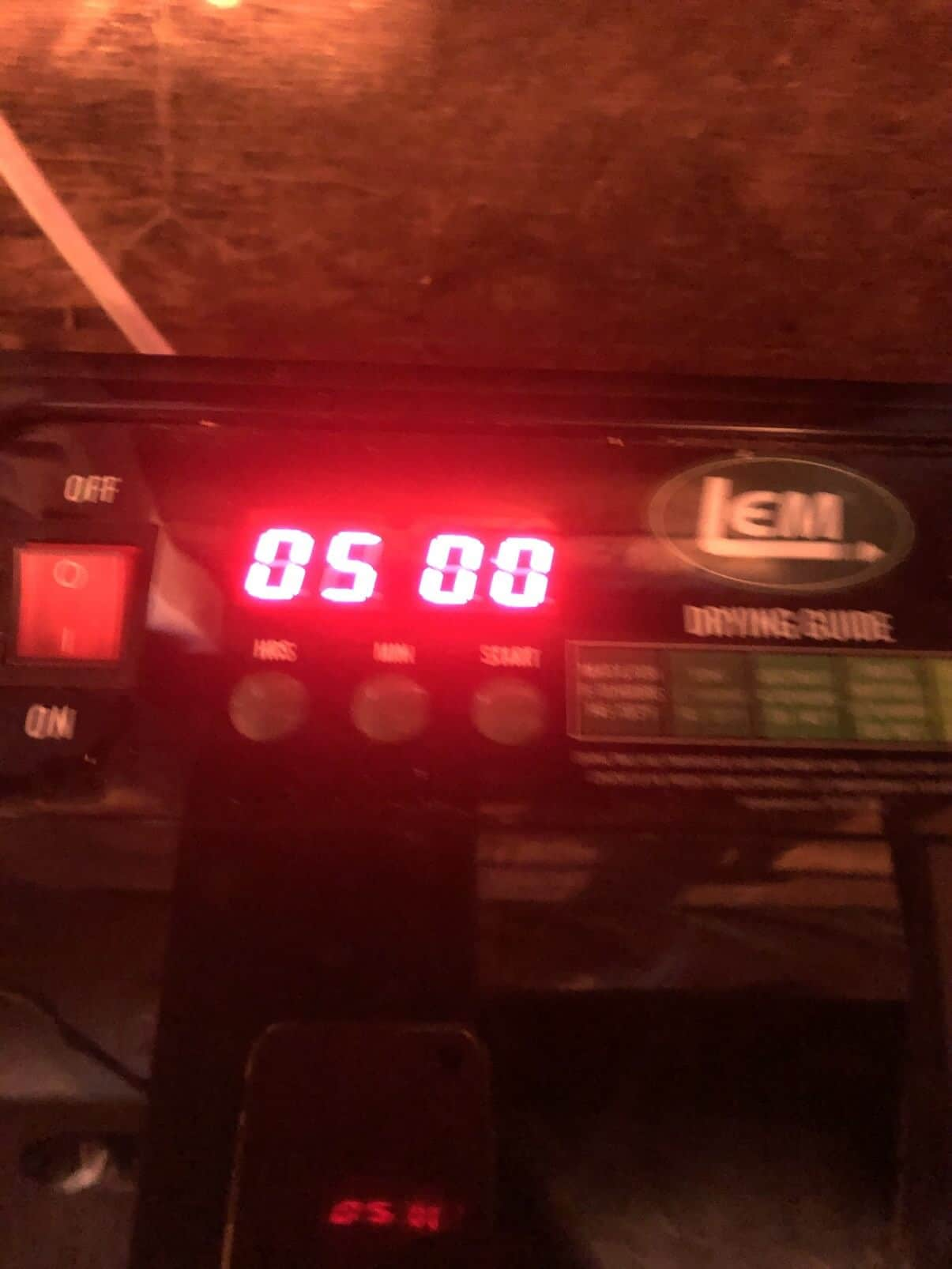 five hours on dehydrator timer