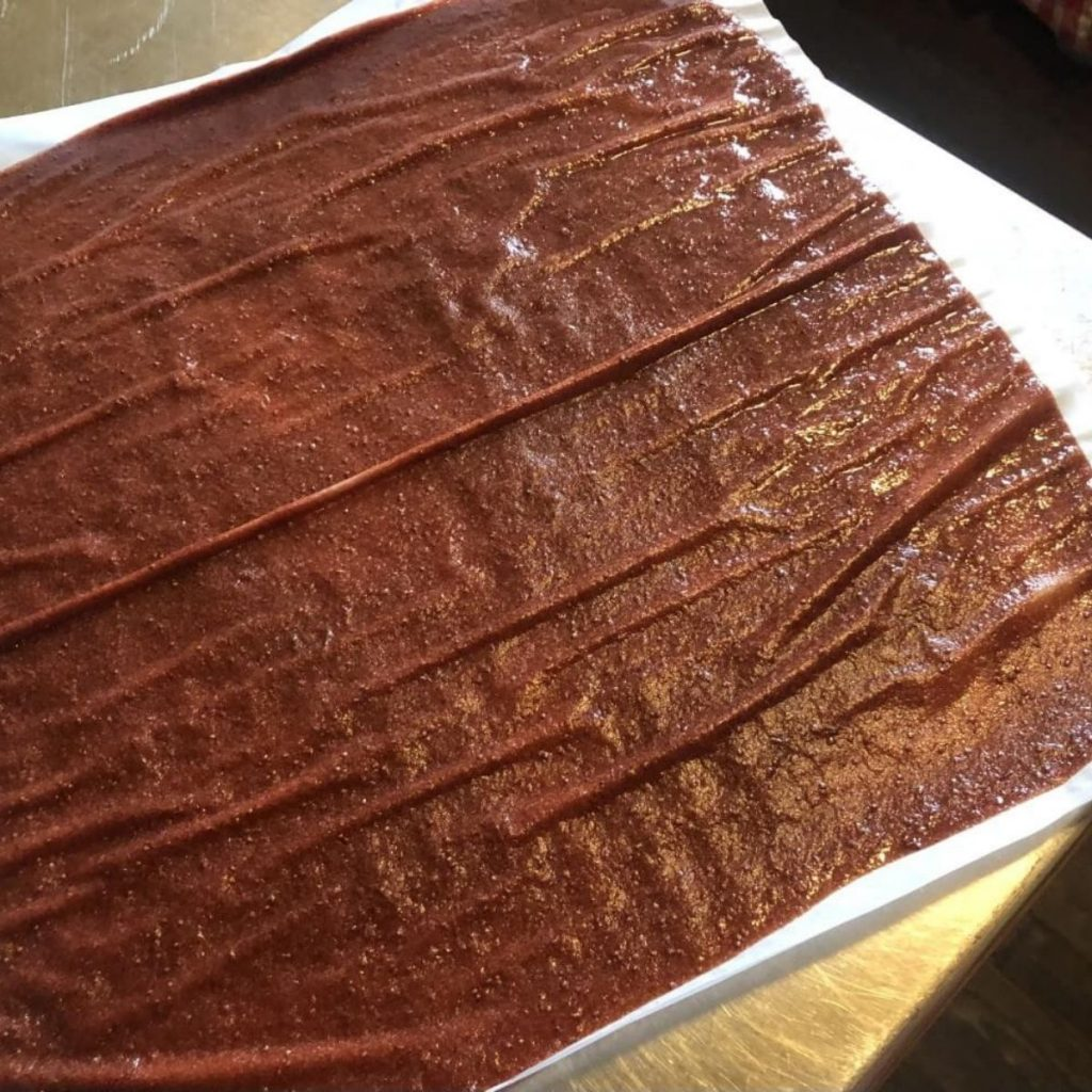 sheet of dehydrated fruit leather