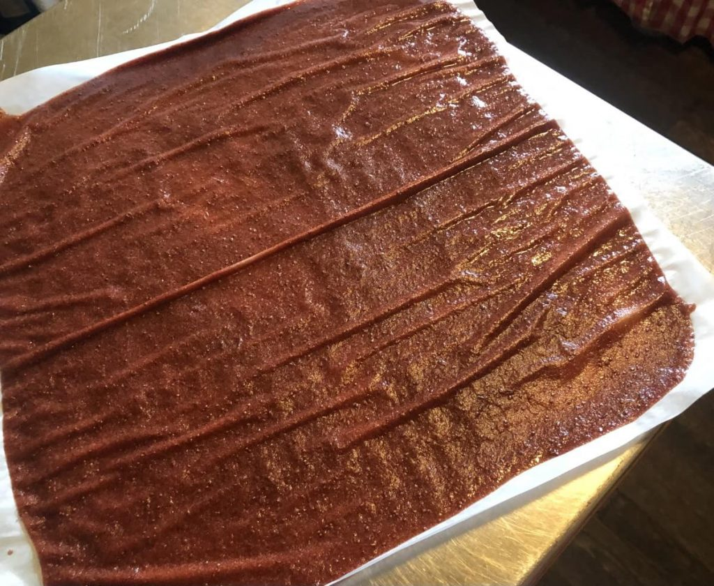whole sheet of done, dried strawberry rhubarb fruit leather