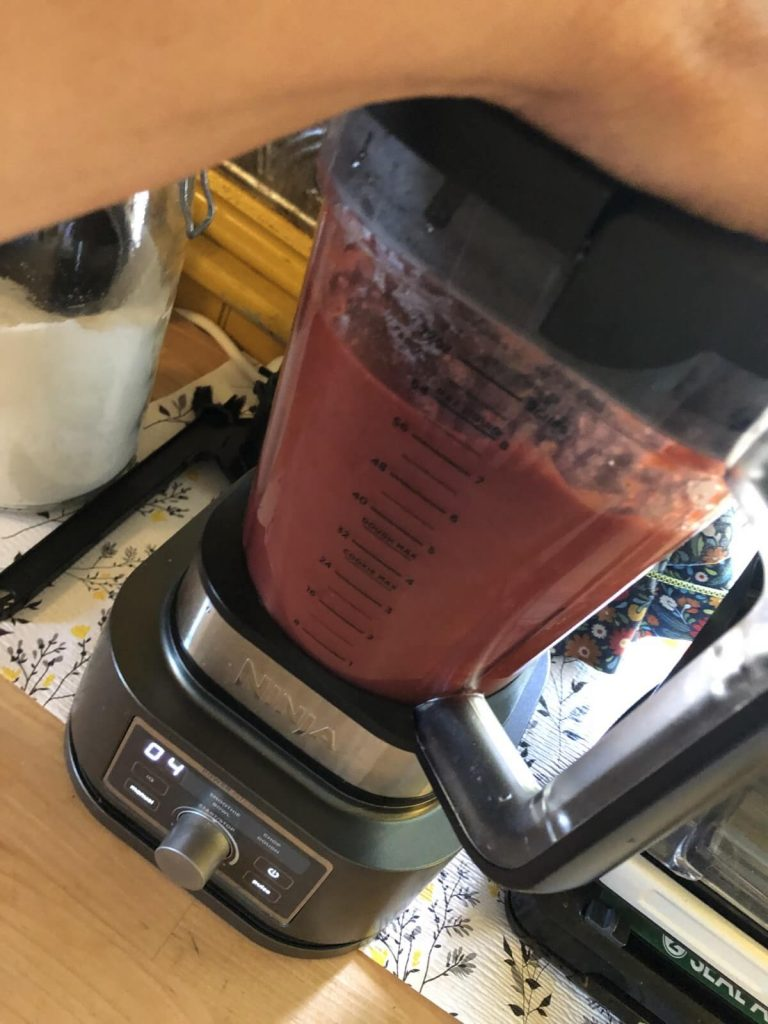 fruit puree made from previously frozen strawberries